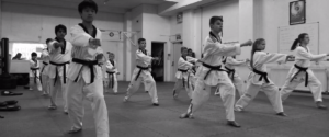 Black Belt class with young adults and children at Focus Taekwondo School of Excellence in Elgin, Moray